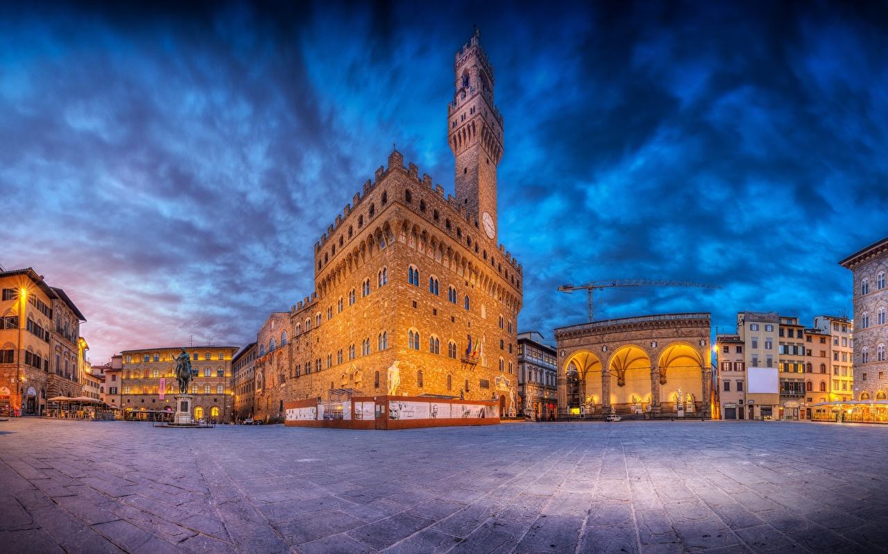 Wallpaper Florence Italy Town square Piazza della Signoria HDRI Cities Building HDR Houses