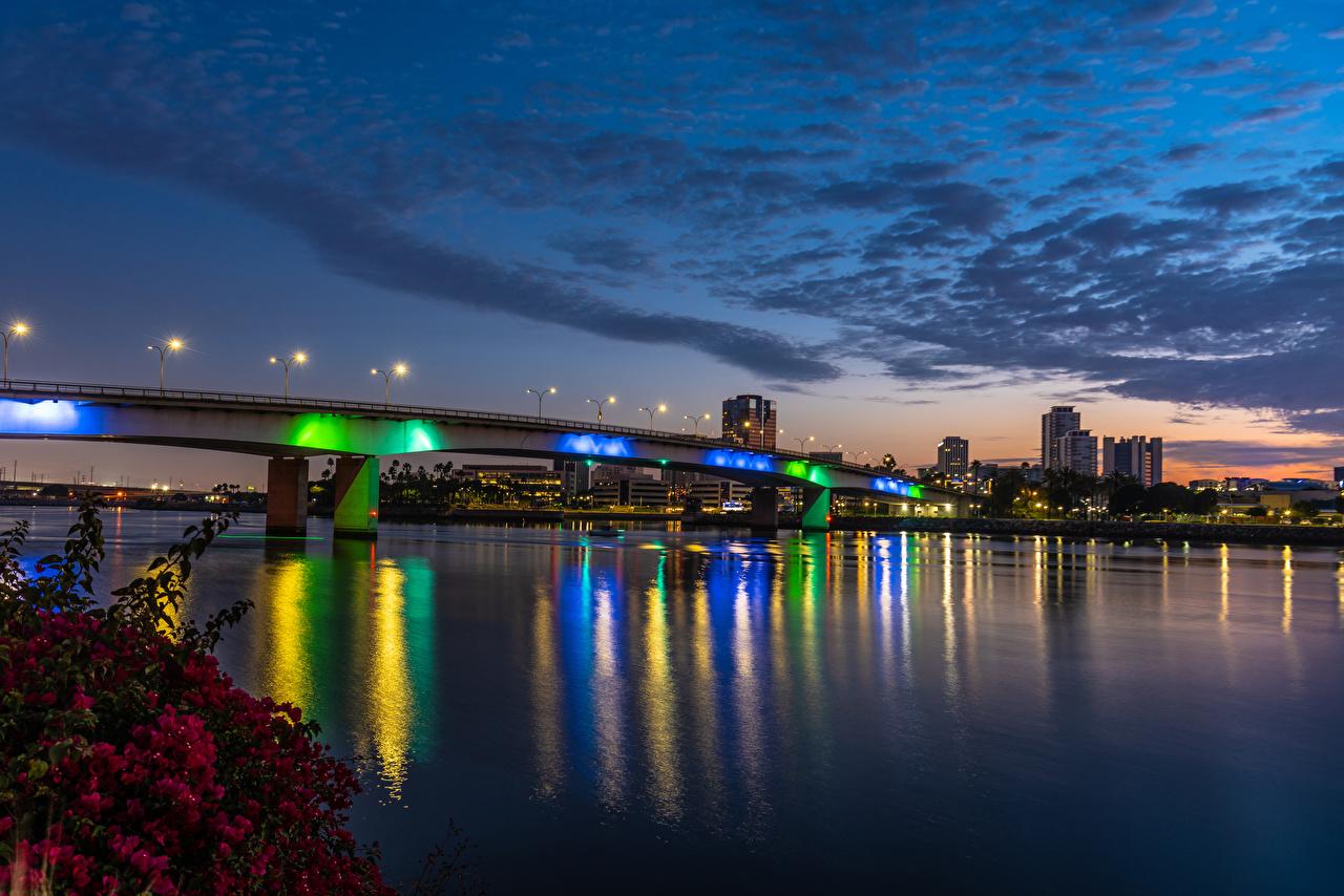 Fotos von Kalifornien USA Long Beach Brücke Himmel Fluss Abend Straßenlaterne Städte Gebäude Vereinigte Staaten Brücken Flusse Haus