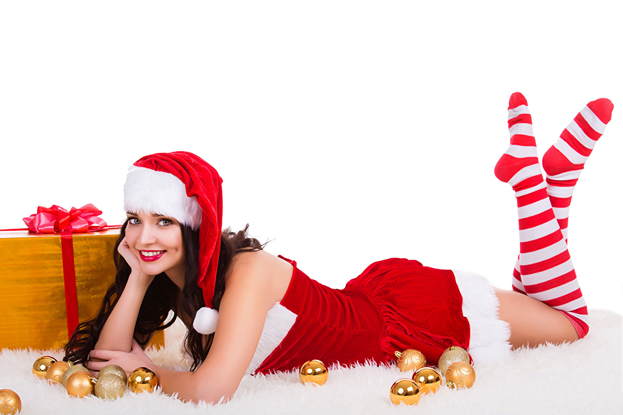 Wallpaper New year Knee highs Smile Girls Winter hat Legs Balls Uniform White background Christmas female young woman
