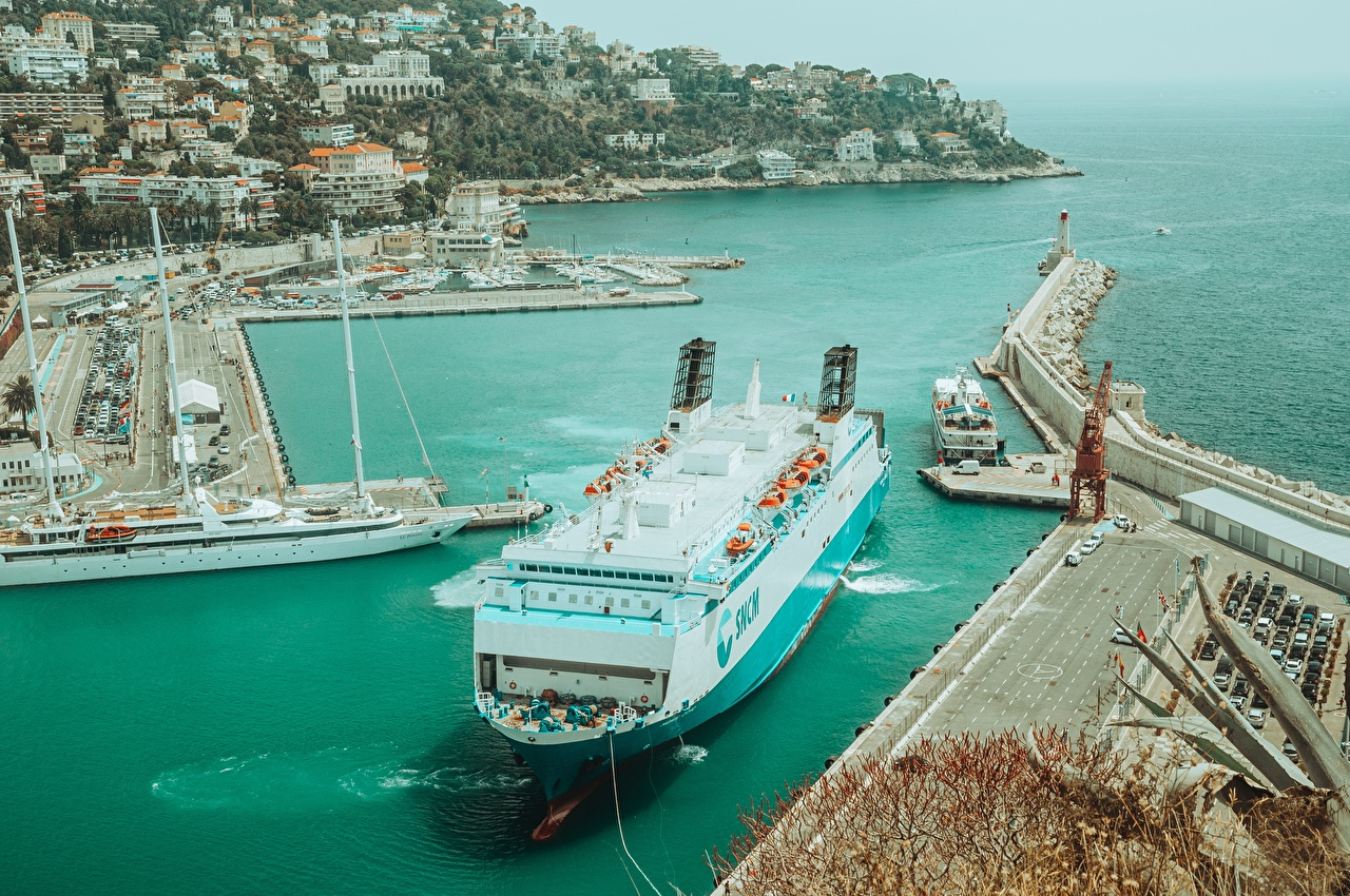 Pictures France Nice, Alpes-Maritimes Ships Pier Cities ship Berth Marinas