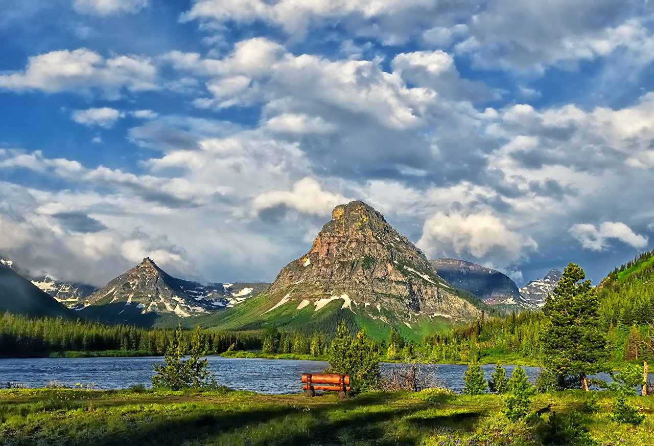 Pictures USA Glacier Nature mountain Sky Lake Parks Clouds Mountains park