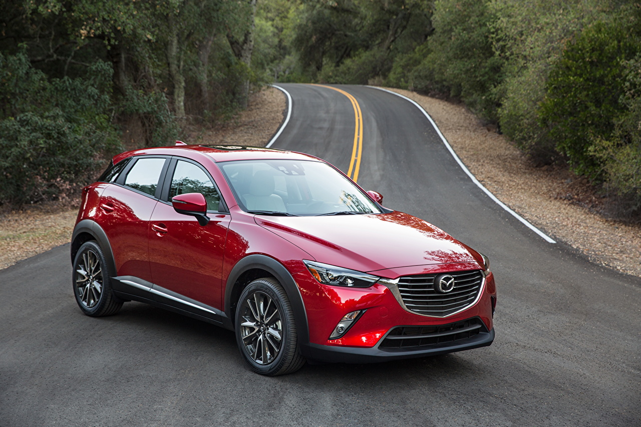 Photo Mazda 2015 CX-3 Red Roads Cars Metallic auto automobile