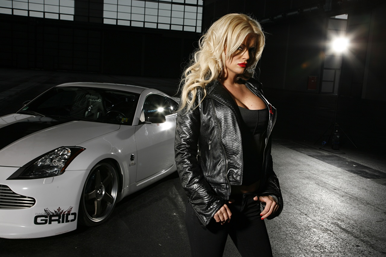 Images Blonde girl Pose Girls Jacket Cars Hands Glance posing female young woman auto automobile Staring