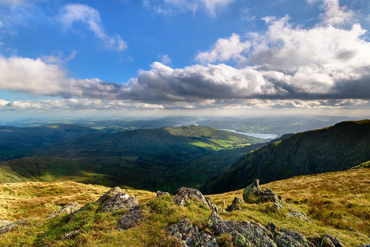 Image England Lake District, Cumbria Crag Nature Mountains Clouds Rock Cliff mountain