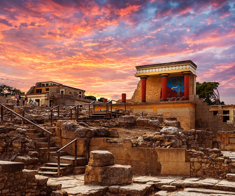 、ギリシャ、廃墟、Knoss palase Crete、宮殿、階段、都市、