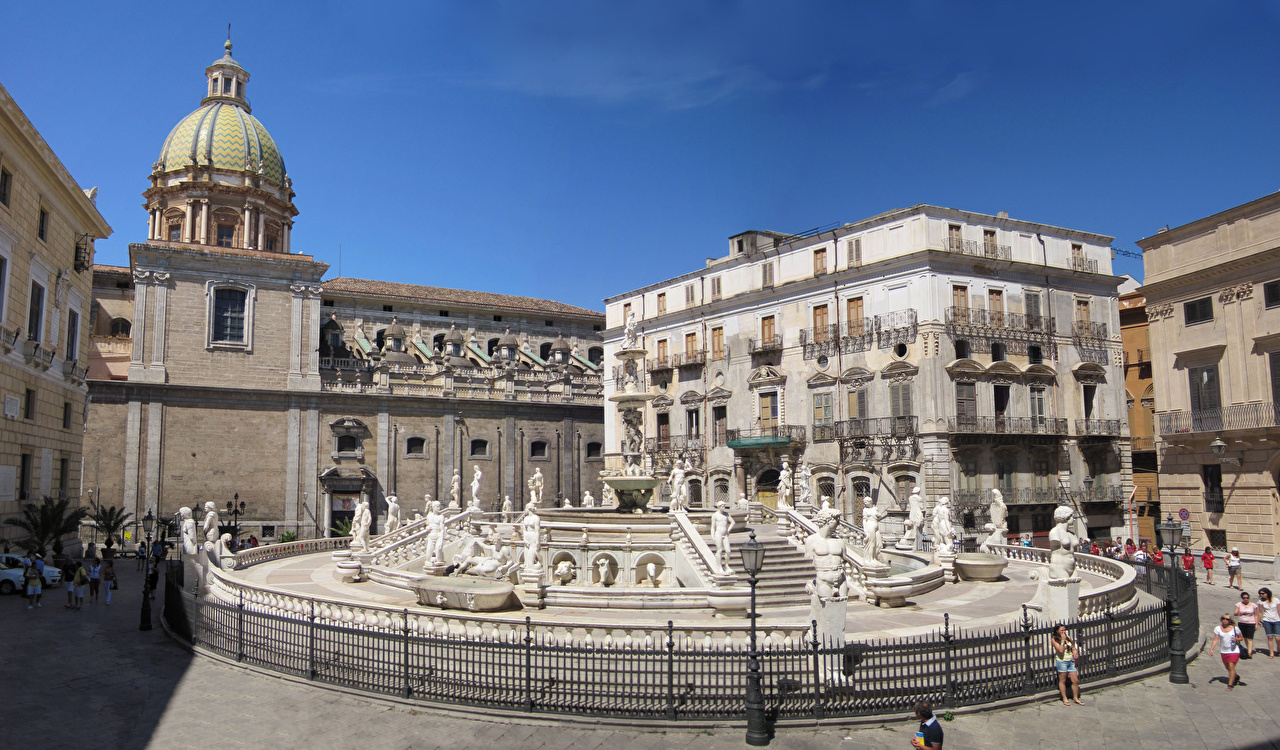 Photo Sicily Italy Fountains Piazza Pretoria, Palermo, fountain Shame Street lights Cities Sculptures