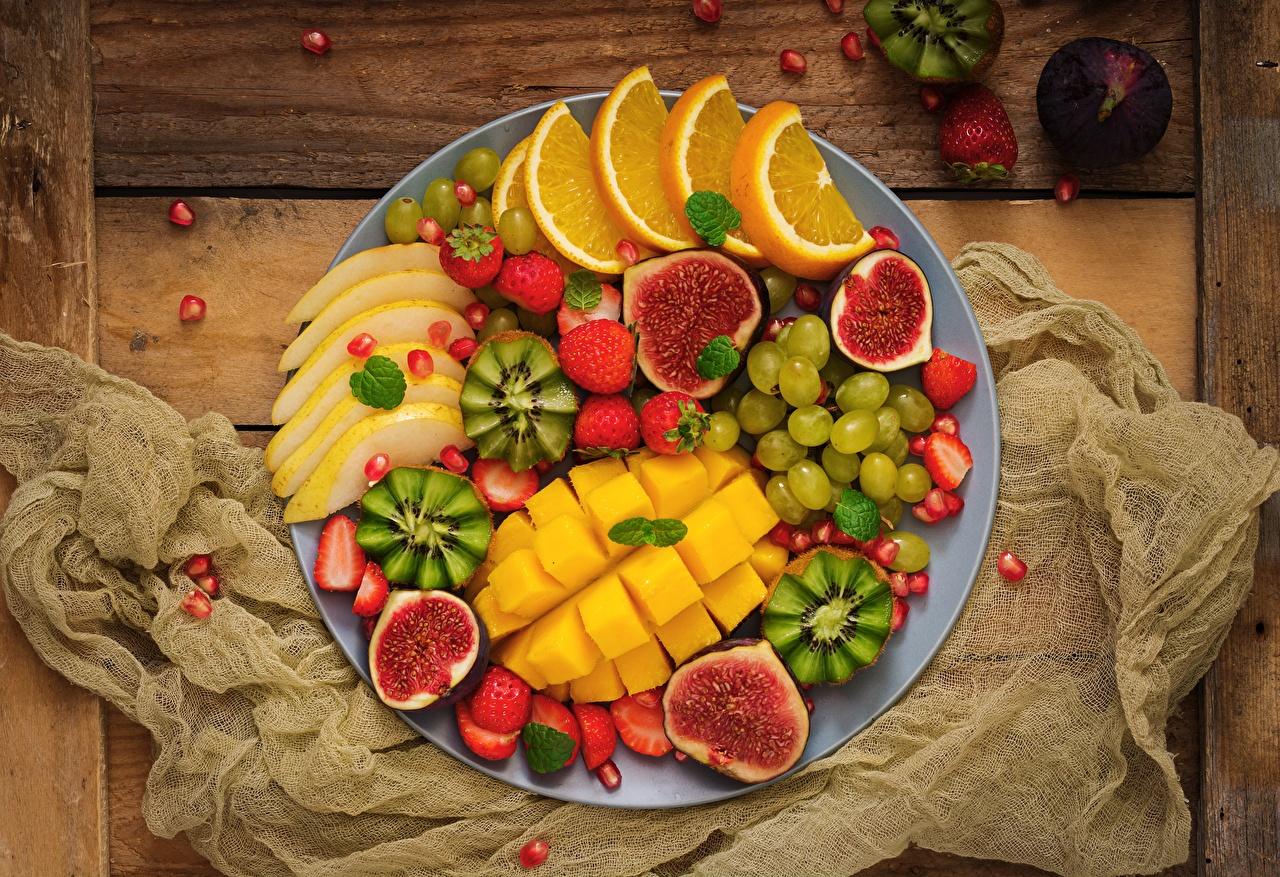 Desktop Wallpapers Mango Common Fig Grapes Food Fruit