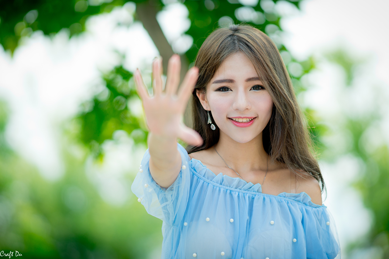 Wallpaper Brown haired Smile Gesture blurred background Girls Asiatic Hands Staring gestures Bokeh female young woman Asian Glance