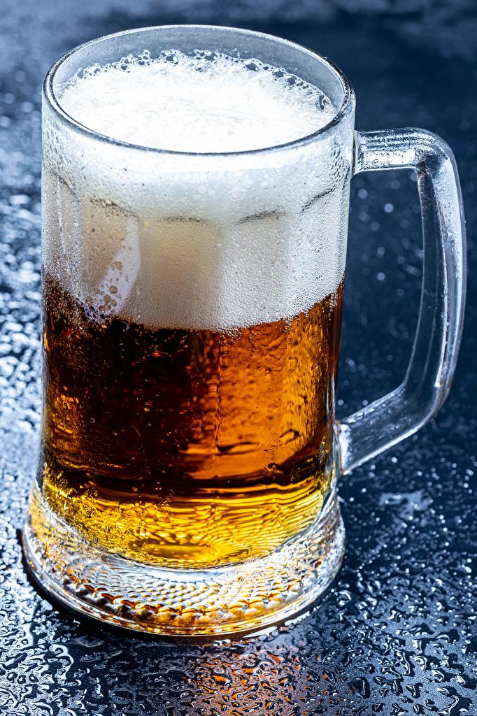 Photo Beer Mug Foam Food Closeup  for Mobile phone