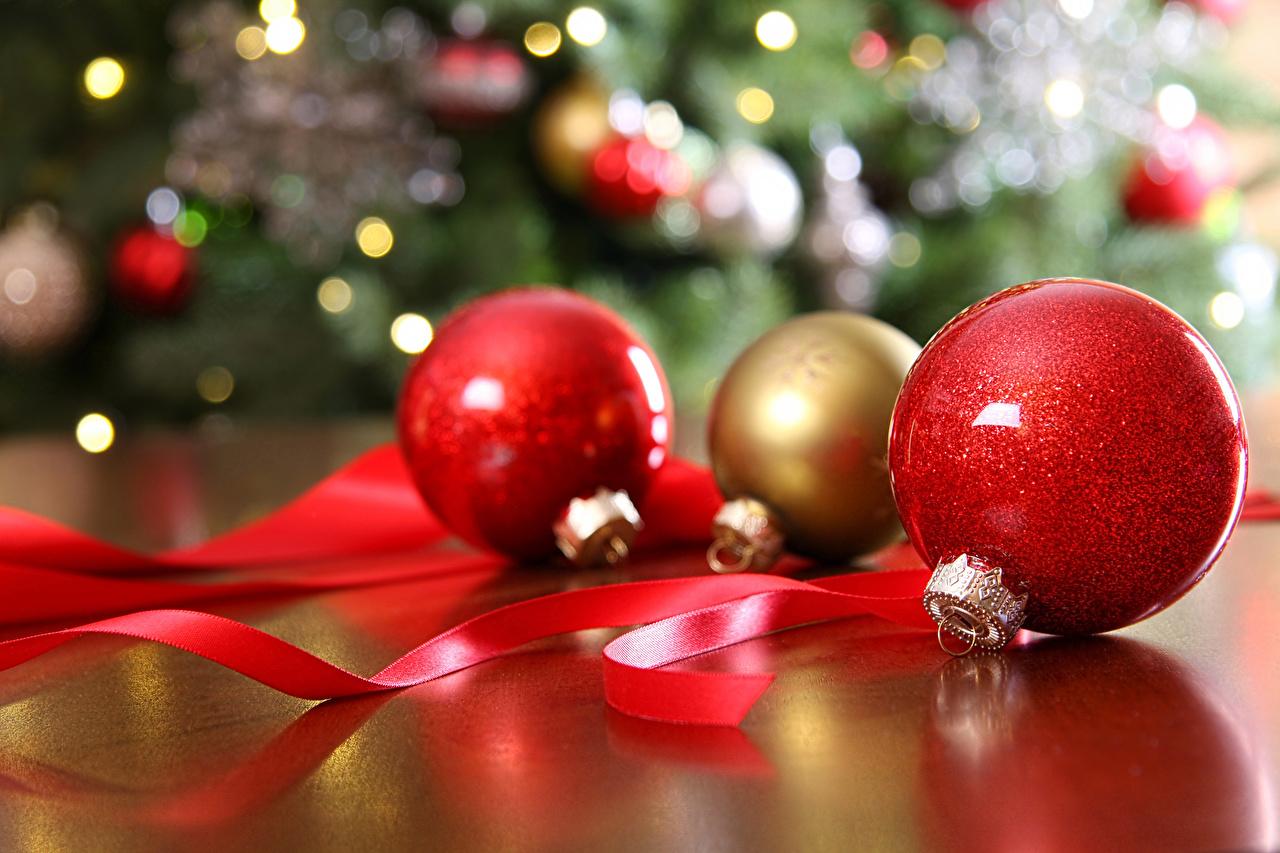 Picture New year Balls Ribbon Three 3 Christmas