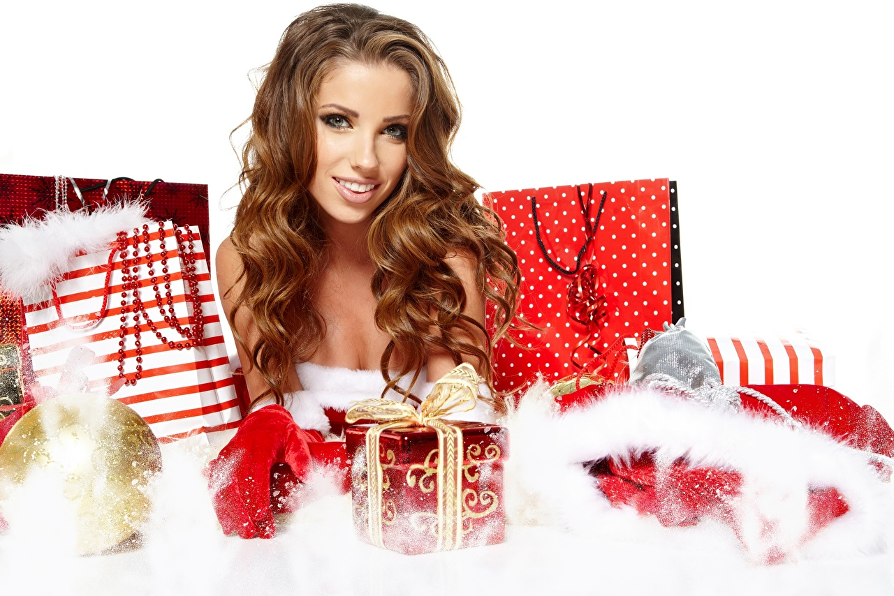Images Izabela Magier New year Brown haired Smile female Gifts Glance Christmas Girls young woman present Staring