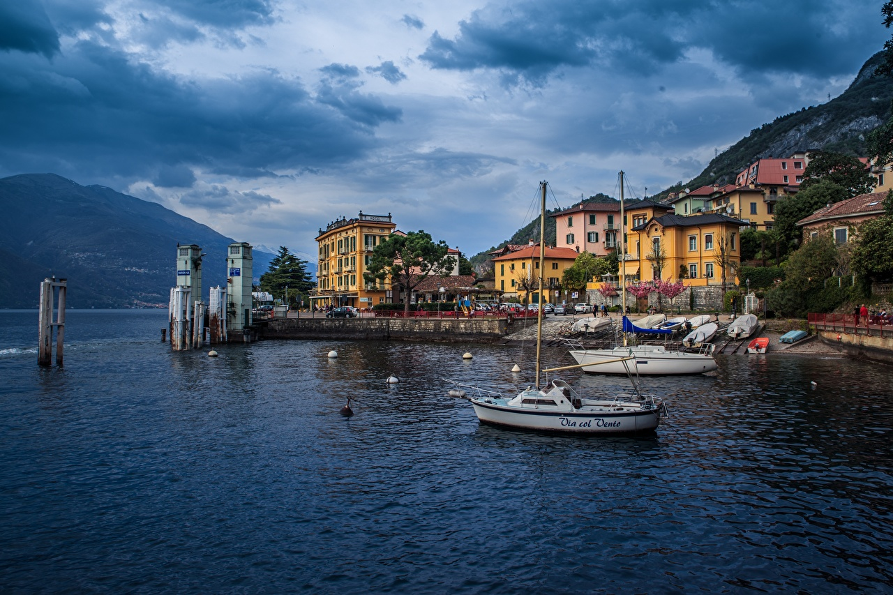 Photos Italy Lombardy, Varenna Sea Nature Mountains Boats Waterfront Houses Clouds mountain Building