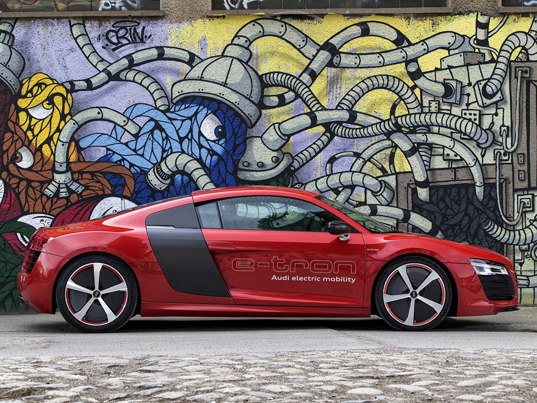 Pictures Audi R8 e-Tron Red Graffiti Side auto Cars automobile