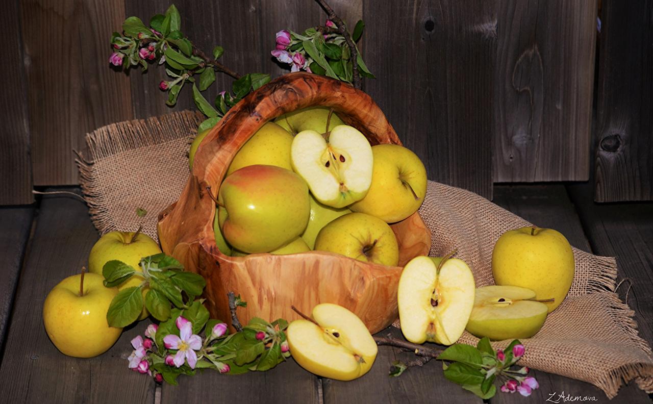 Foto Äpfel Weidenkorb Obst Lebensmittel das Essen