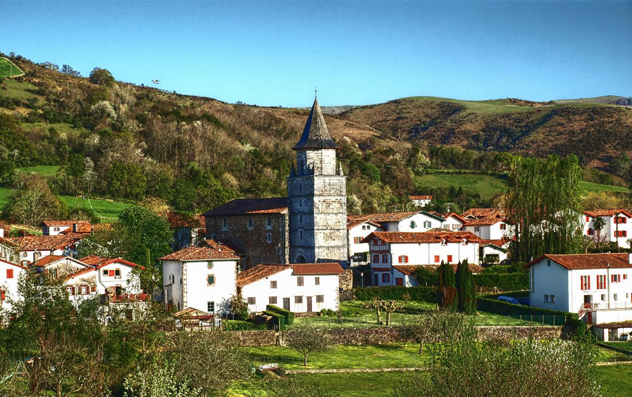 、スペイン、住宅、Ainhoa、ハイダイナミックレンジ合成、建物、都市、