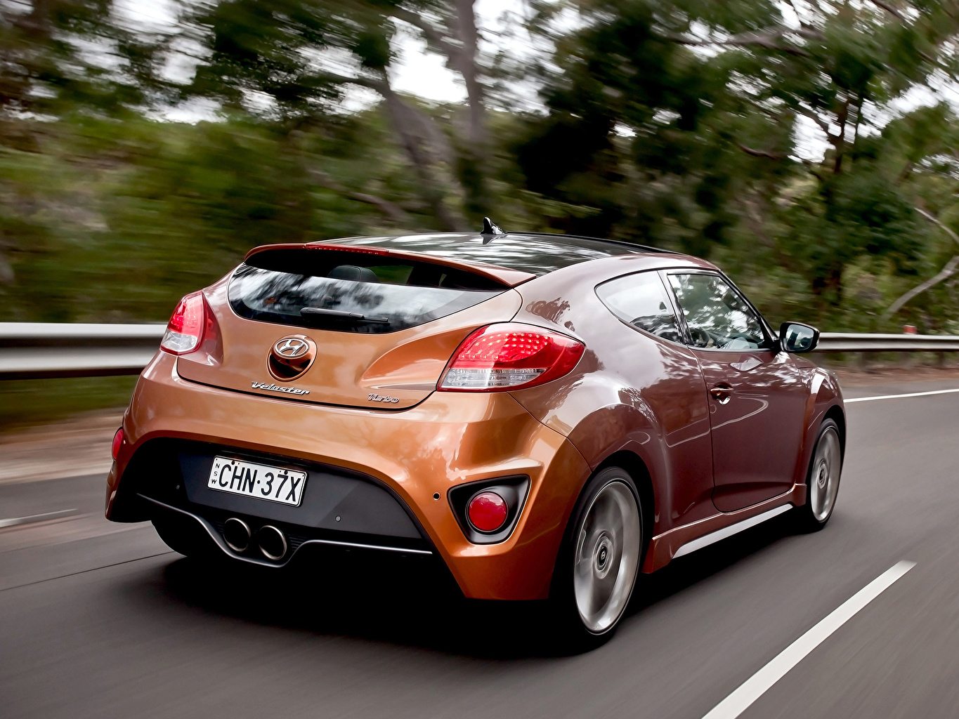 Desktop Wallpapers Hyundai Veloster Turbo Back view Headlights automobile Cars auto