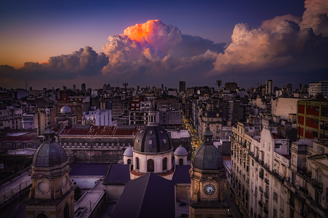 Picture Argentina Buenos Aires Roof Evening From above Cities Clouds Building Houses