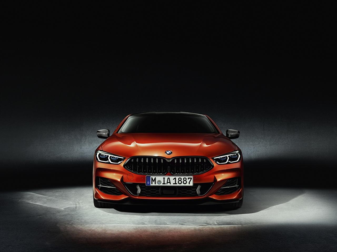 Image BMW 8-Series 2018 Coupe Orange Cars Front auto automobile