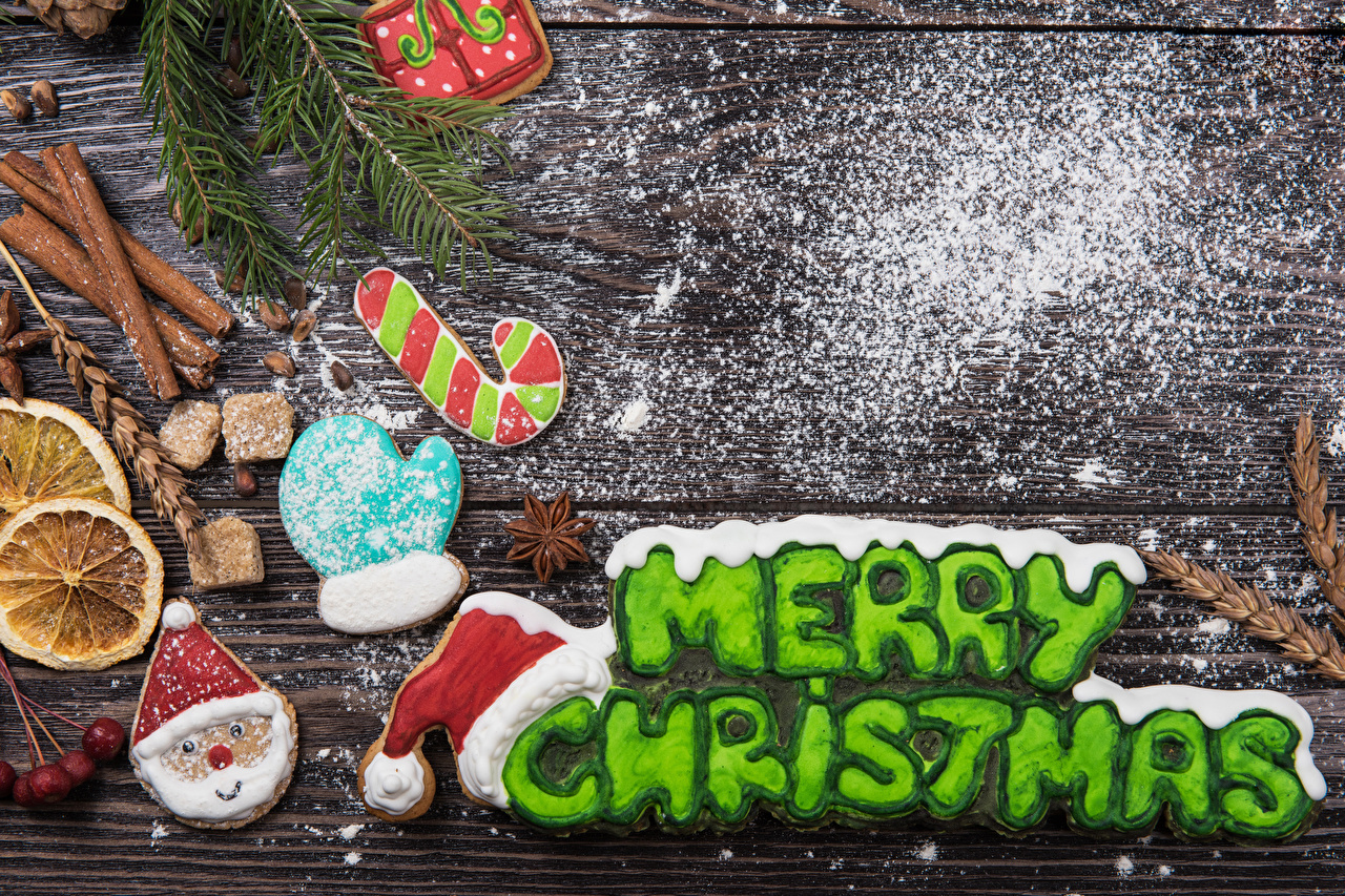 Picture New year English Glove Winter hat Santa Claus Powdered sugar Cinnamon lettering Cookies boards Design Christmas text Word - Lettering Wood planks