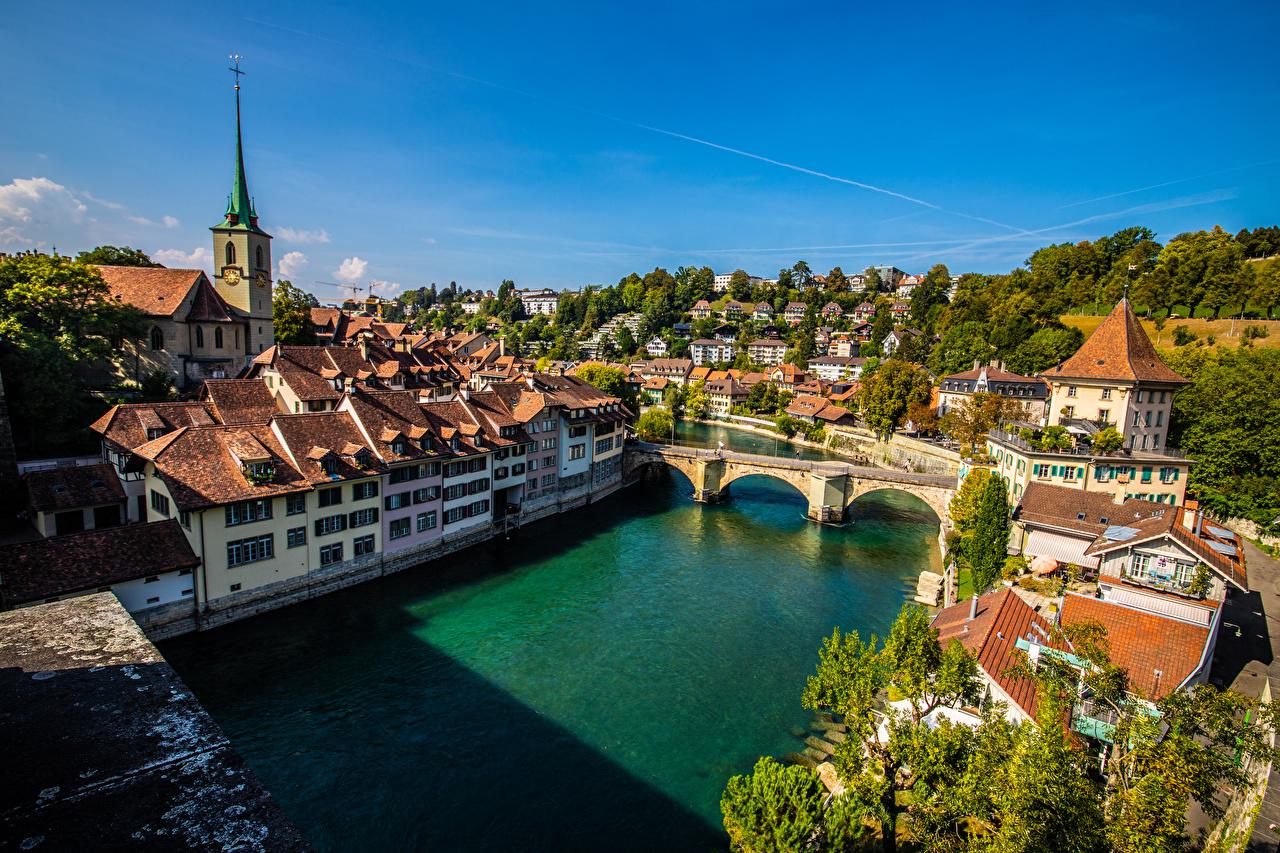 Pictures Bern Switzerland bridge Rivers From above Houses Cities Bridges river Building