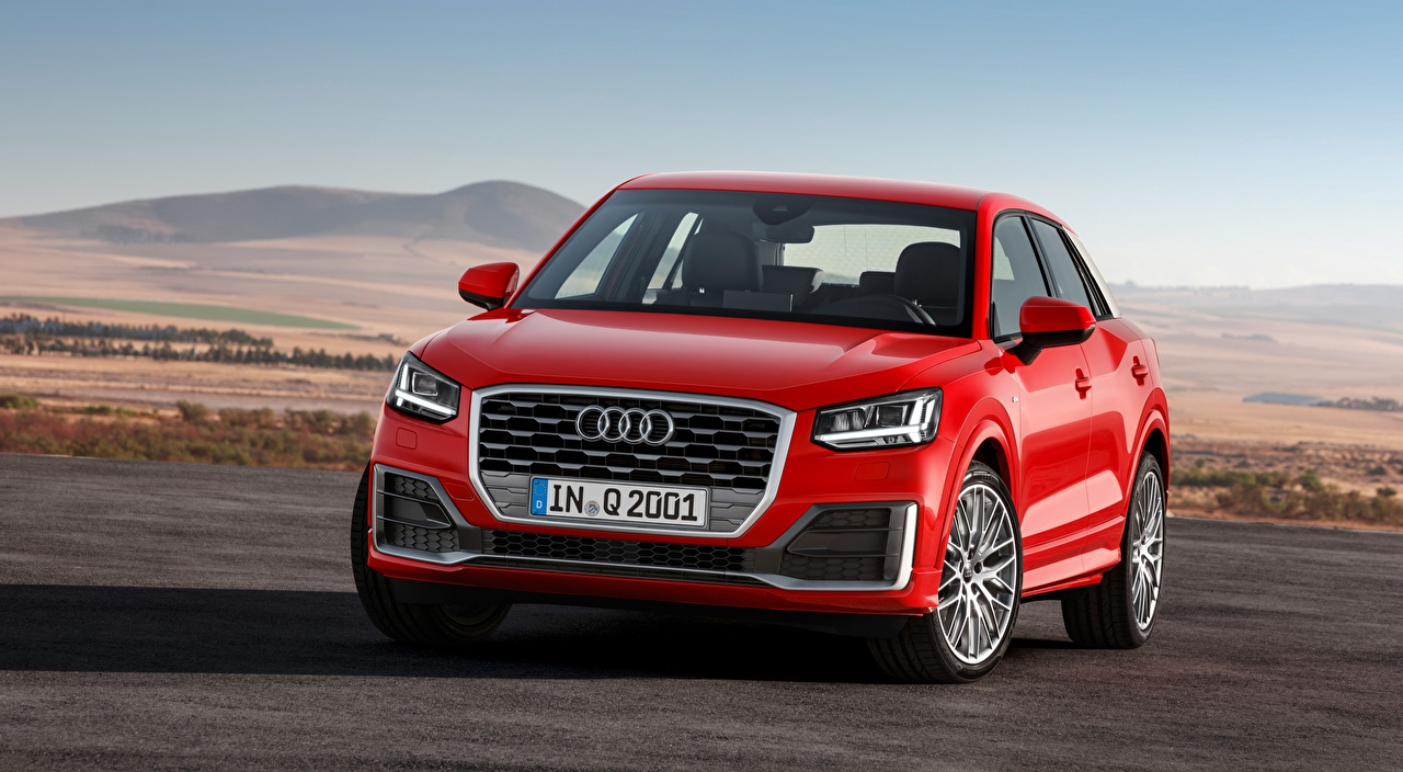 Pictures Audi CUV Q2, TFSI, quattro, S line, 2016 Red Cars Front Crossover auto automobile