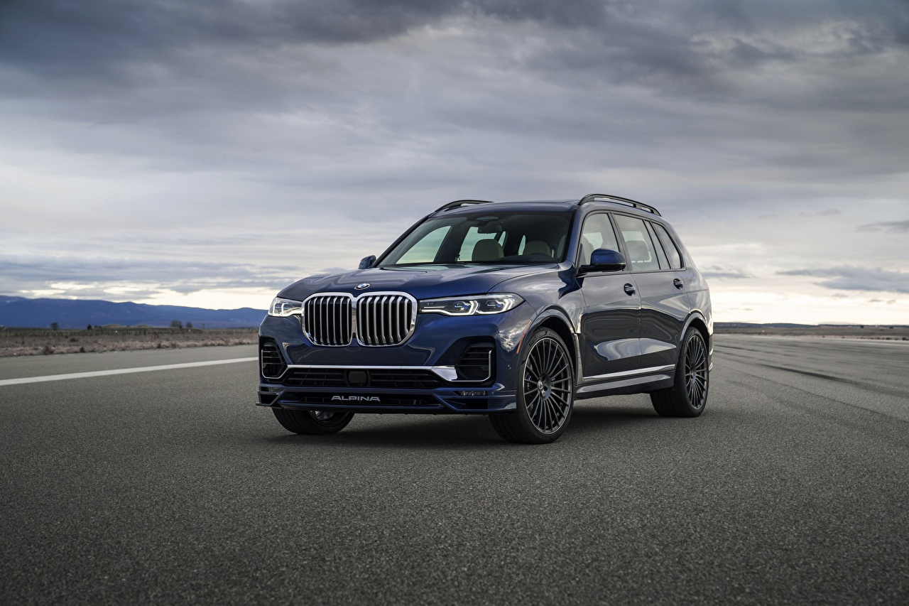 Picture BMW CUV X7, G07, Alpina, 2020 Blue Cars Asphalt Metallic Crossover auto automobile