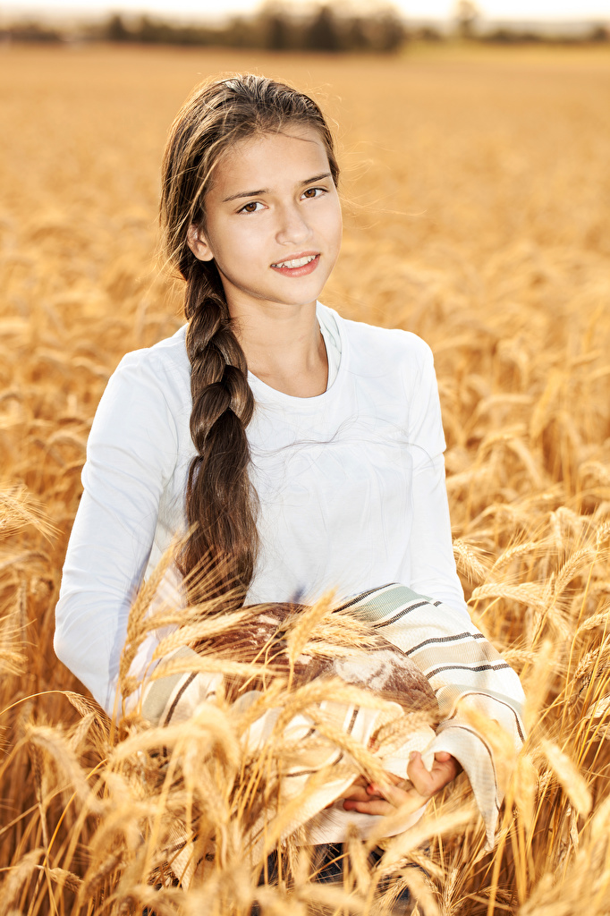 Picture Little girls Brown haired plait Girls Ear botany Glance Braid hair Staring