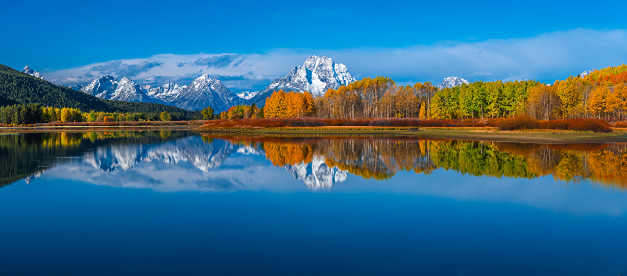 Picture USA Panorama Grand Teton National Park, Wyoming Nature Autumn mountain Lake Parks Scenery panoramic Mountains park landscape photography