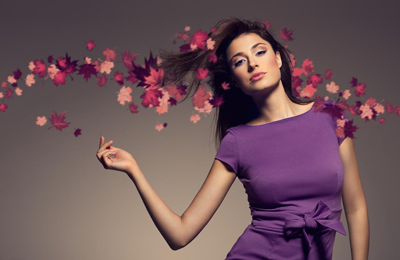 Desktop Hintergrundbilder Blattwerk Brünette posiert Herbst Mädchens Hand Schleife Starren Grauer Hintergrund Kleid Blatt Pose junge frau junge Frauen Blick