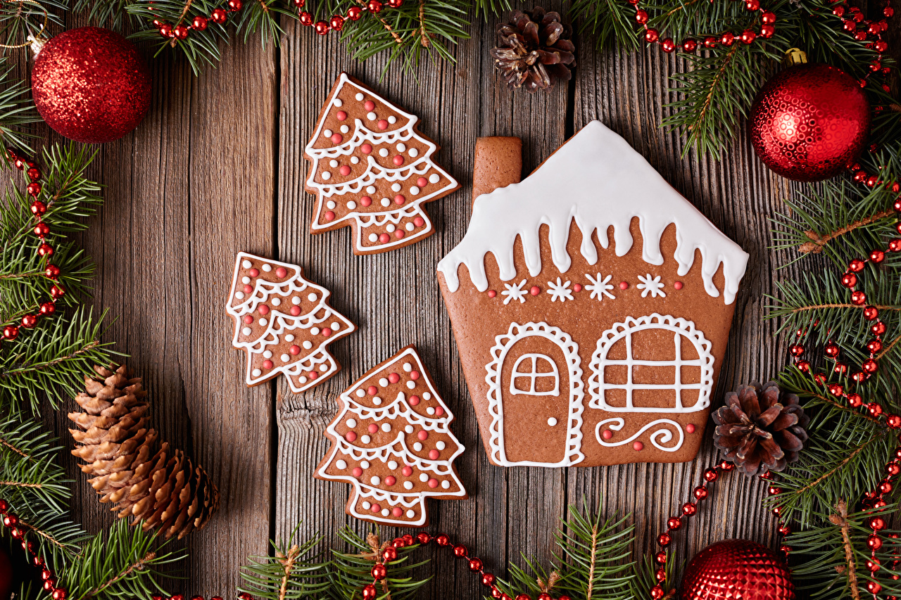 Desktop Wallpapers Christmas New Year tree Food Balls Cookies Branches Pine cone Houses boards Design New year Christmas tree Conifer cone Building Wood planks
