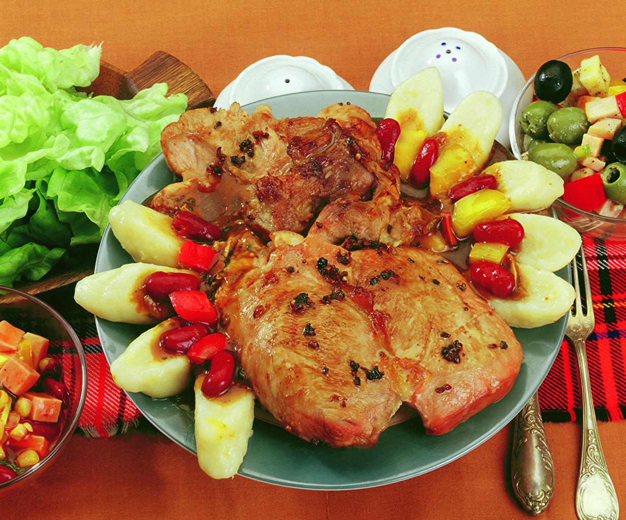 Bilder von Kartoffel Teller Gemüse Lebensmittel Fleischwaren