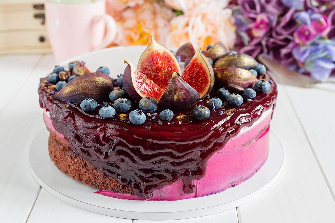 Pictures Jam Cakes ficus carica Blueberries Food Sweets figs Torte Varenye Common fig Fruit preserves confectionery
