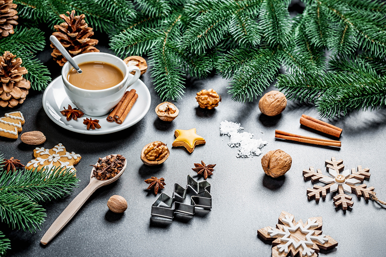 Wallpaper New year cocoa Snowflakes Christmas tree Star anise Illicium Cinnamon Cup Food Cookies Branches Pine cone Nuts Christmas New Year tree Hot chocolate drink Conifer cone