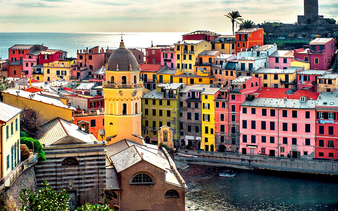 Bilder på skrivbordet Italien haven Hus Städer Havet stad byggnad byggnader