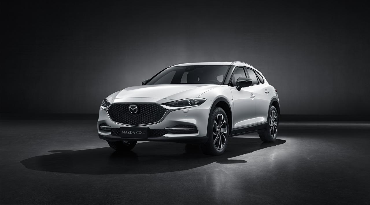Desktop Hintergrundbilder Mazda Crossover CX-4, 2019 Weiß auto Metallisch Softroader Autos automobil
