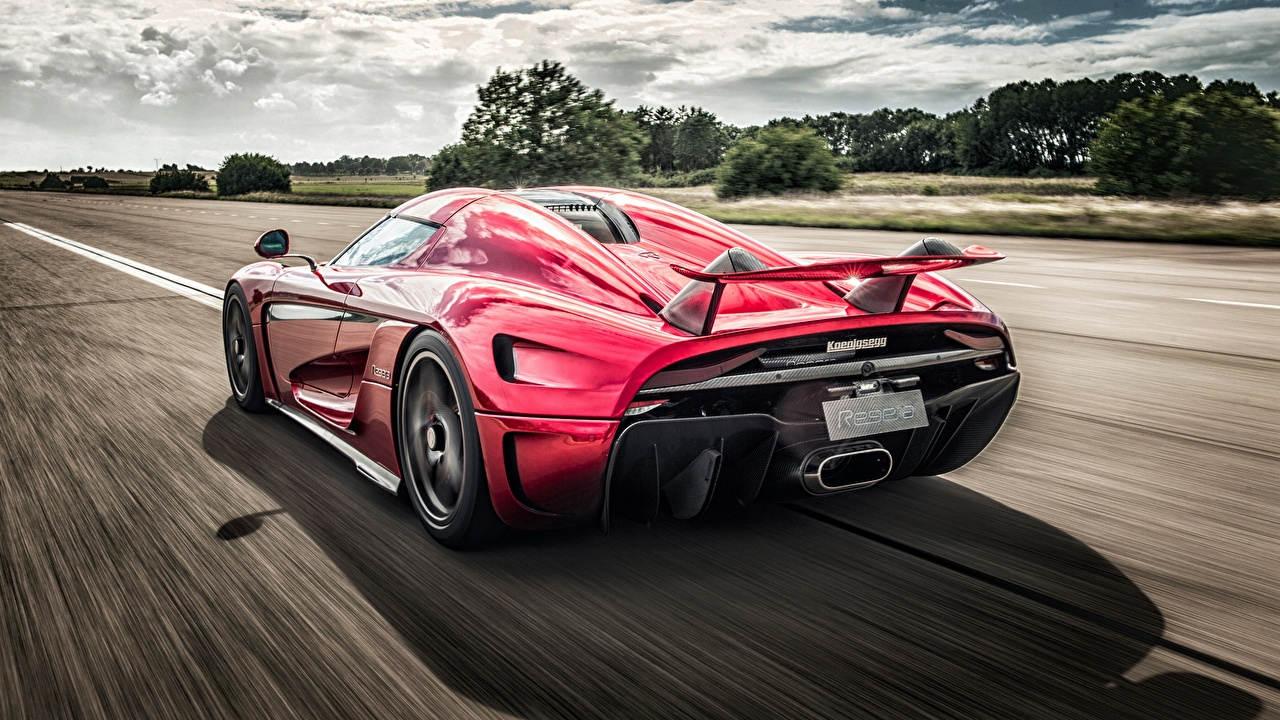 Pictures Koenigsegg Regera HDR riding Back view automobile HDRI moving Motion driving at speed Cars auto