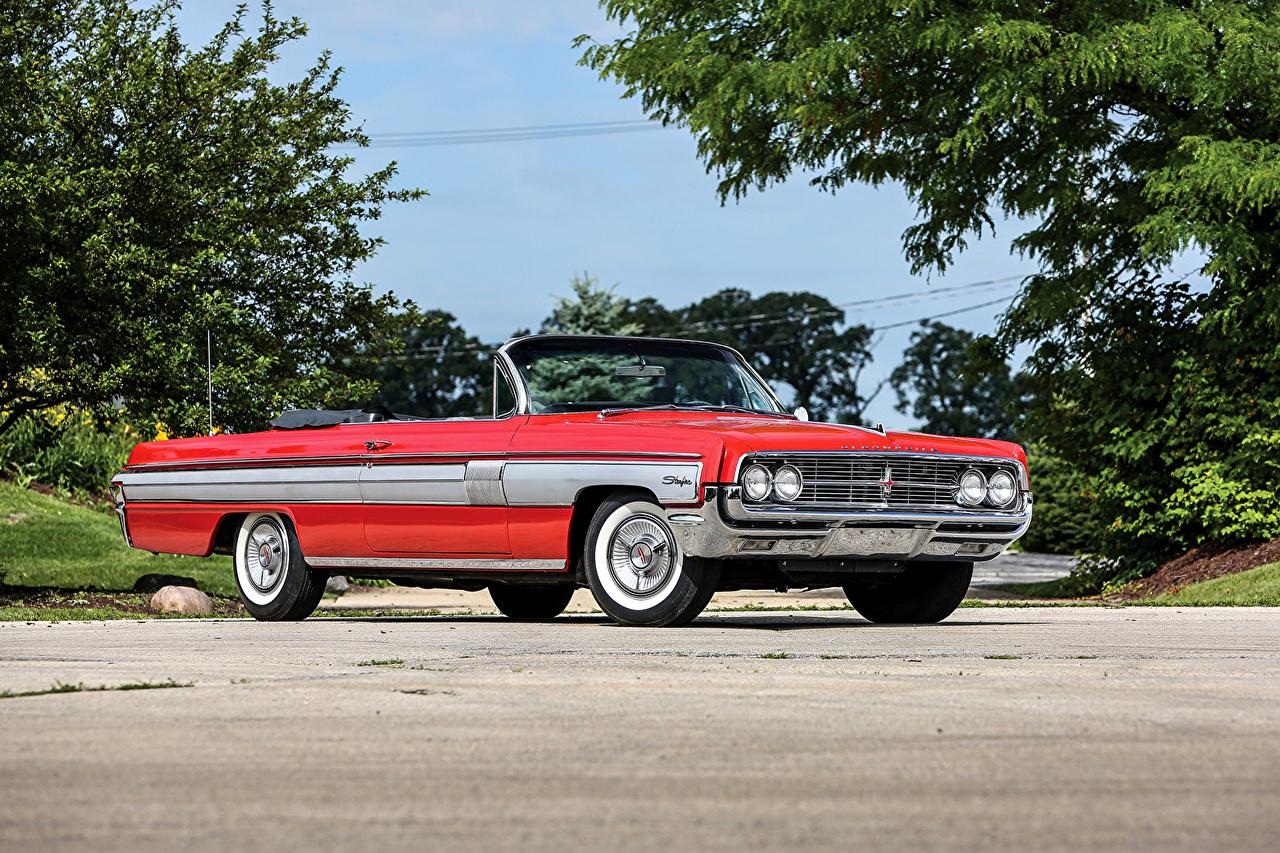Image 1962 Oldsmobile Starfire Convertible Cabriolet Red vintage auto Retro antique Cars automobile