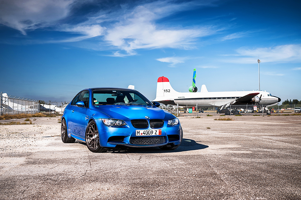 Images BMW m3 e92 Light Blue Sky auto Front Asphalt Cars automobile