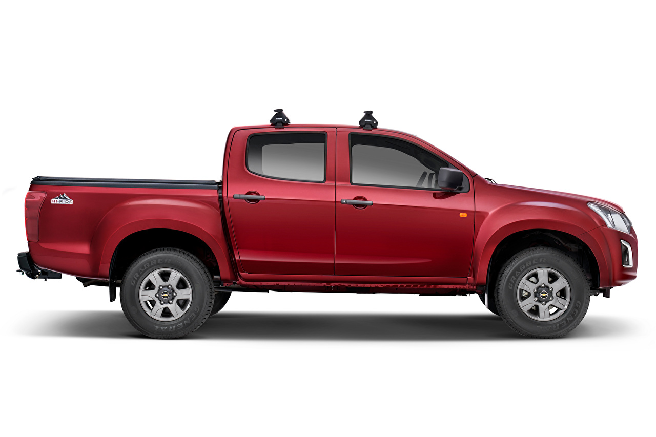 Photos Chevrolet D-Max 'Hi-Ride', 2020 Pickup burgundy auto Side Metallic White background maroon dark red Wine color Cars automobile