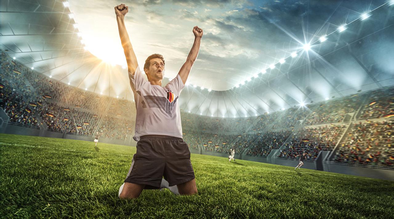 Image Man happy Footbal athletic Stadium Lawn Hands Men Joy joyful Sport sports
