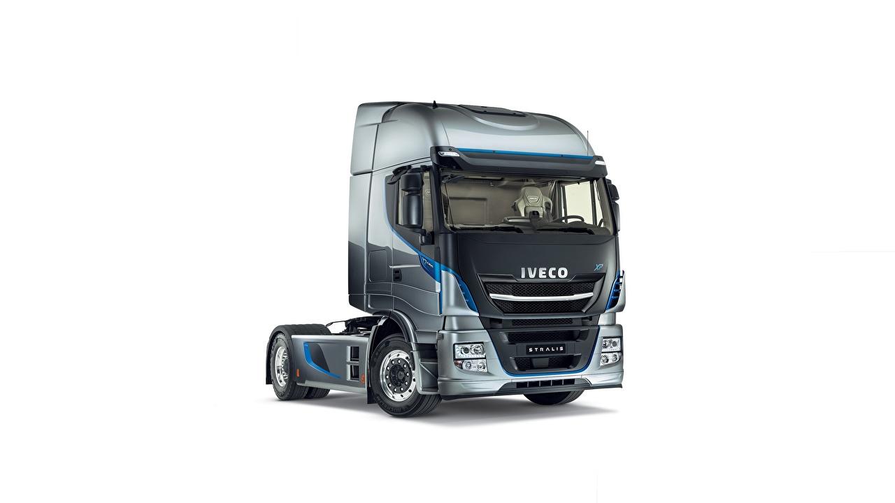 Wallpaper lorry IVECO XP 480, Stralis Grey automobile White background Trucks gray auto Cars