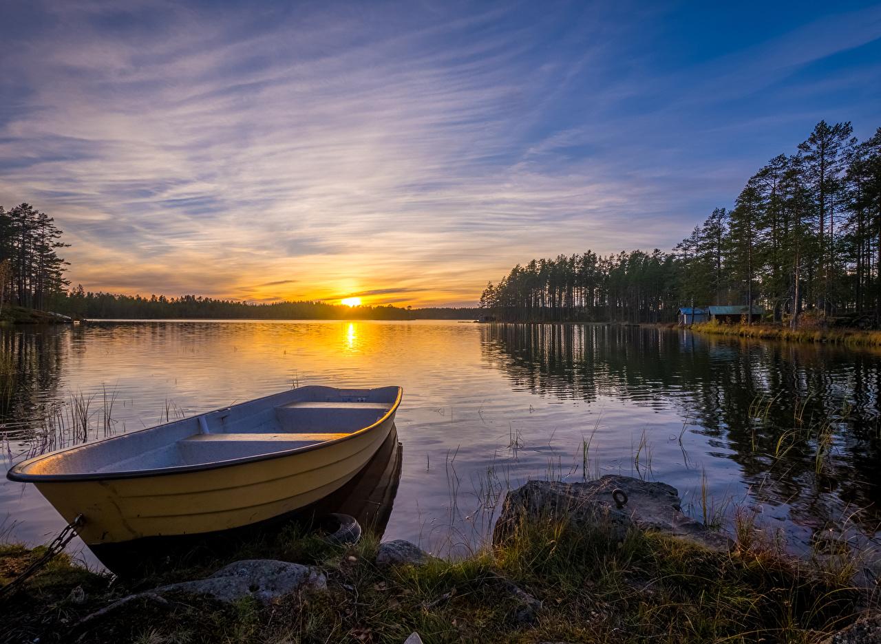 Bilder von Schweden Dalarna Natur Sonnenaufgänge und Sonnenuntergänge Boot Flusse