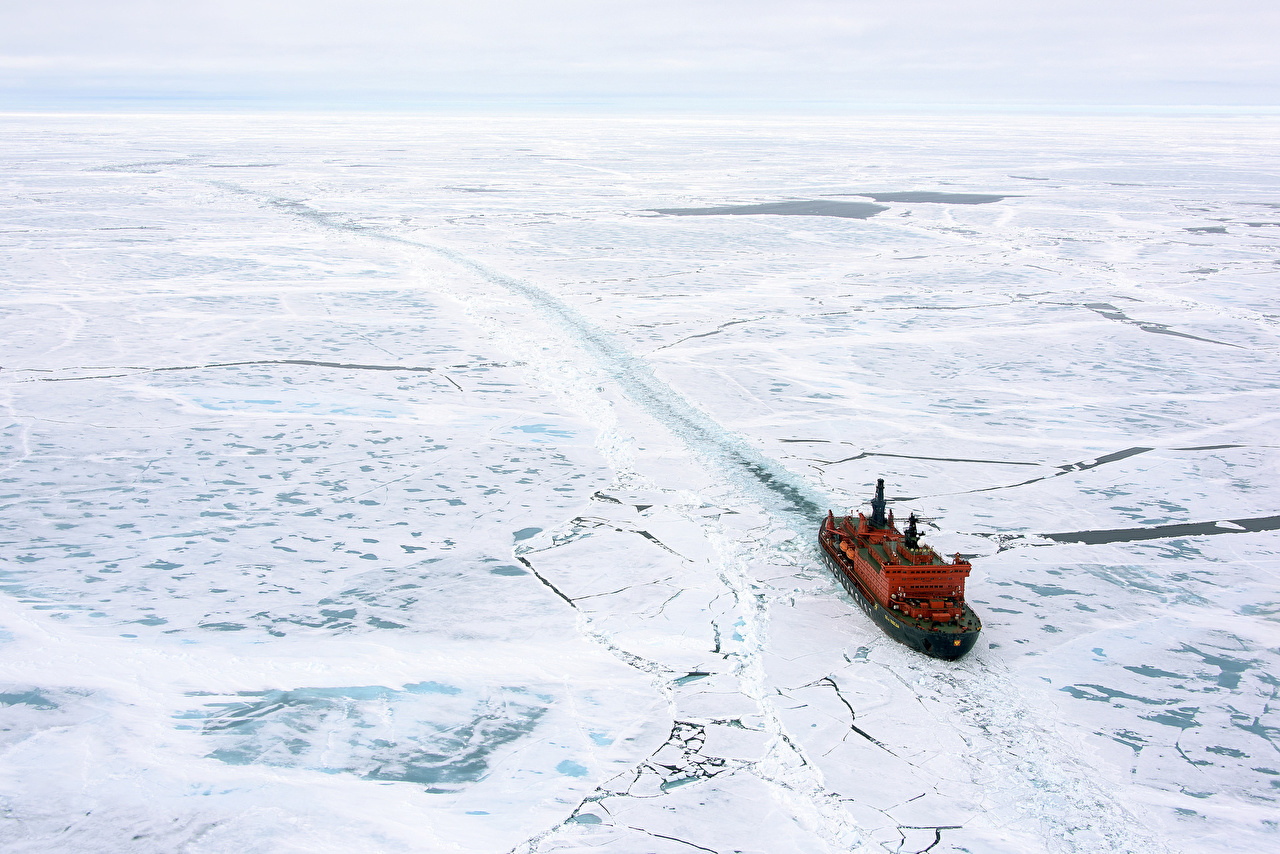 Image Icebreaker Ice ship Snow From above Ships
