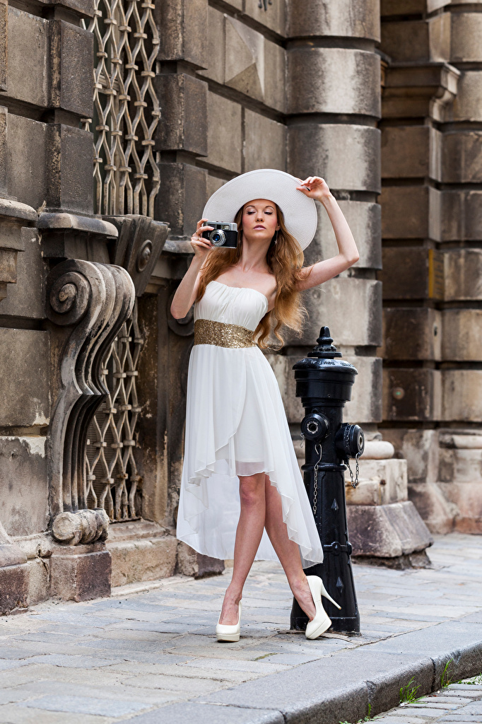 Images Camera Anastasia Pose Hat Girls Glance frock  for Mobile phone posing female young woman Staring gown Dress