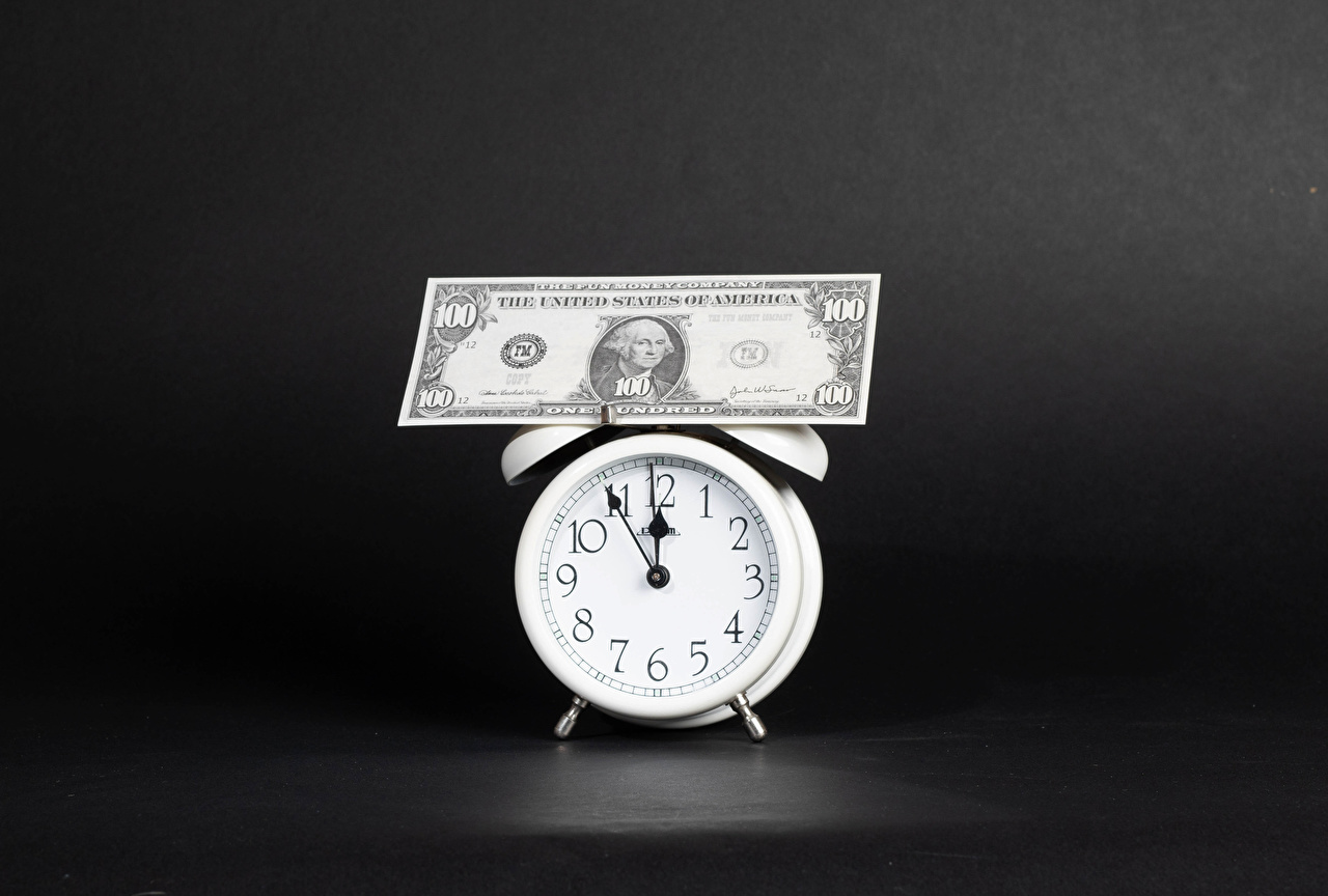Fotos Dollars Papiergeld Uhr Wecker Geld Banknoten Geldscheine