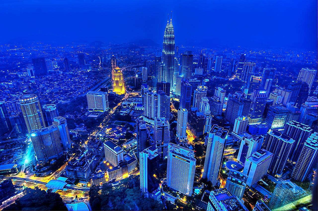 、マレーシア、住宅、超高層建築物、メガロポリス、夜、上から、クアラルンプール、建物、都市、