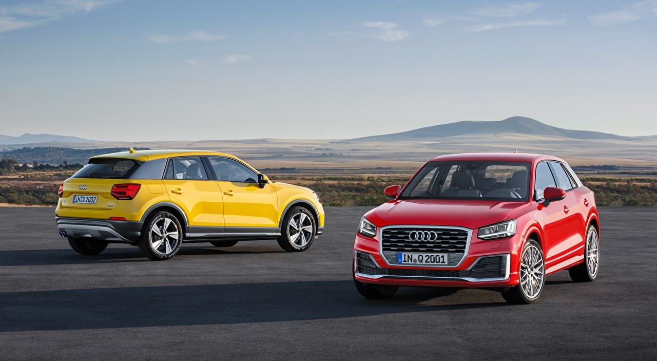 Photo Audi Crossover Q2, TDI, quattro, 2016 2 Red Yellow auto CUV Two Cars automobile