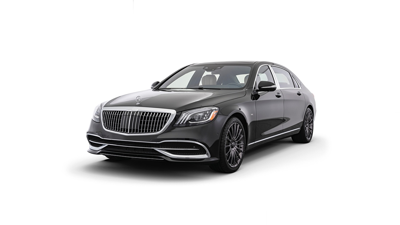 Photo Maybach Mercedes-Benz Night Edition, S650 Black Cars Metallic White background auto automobile