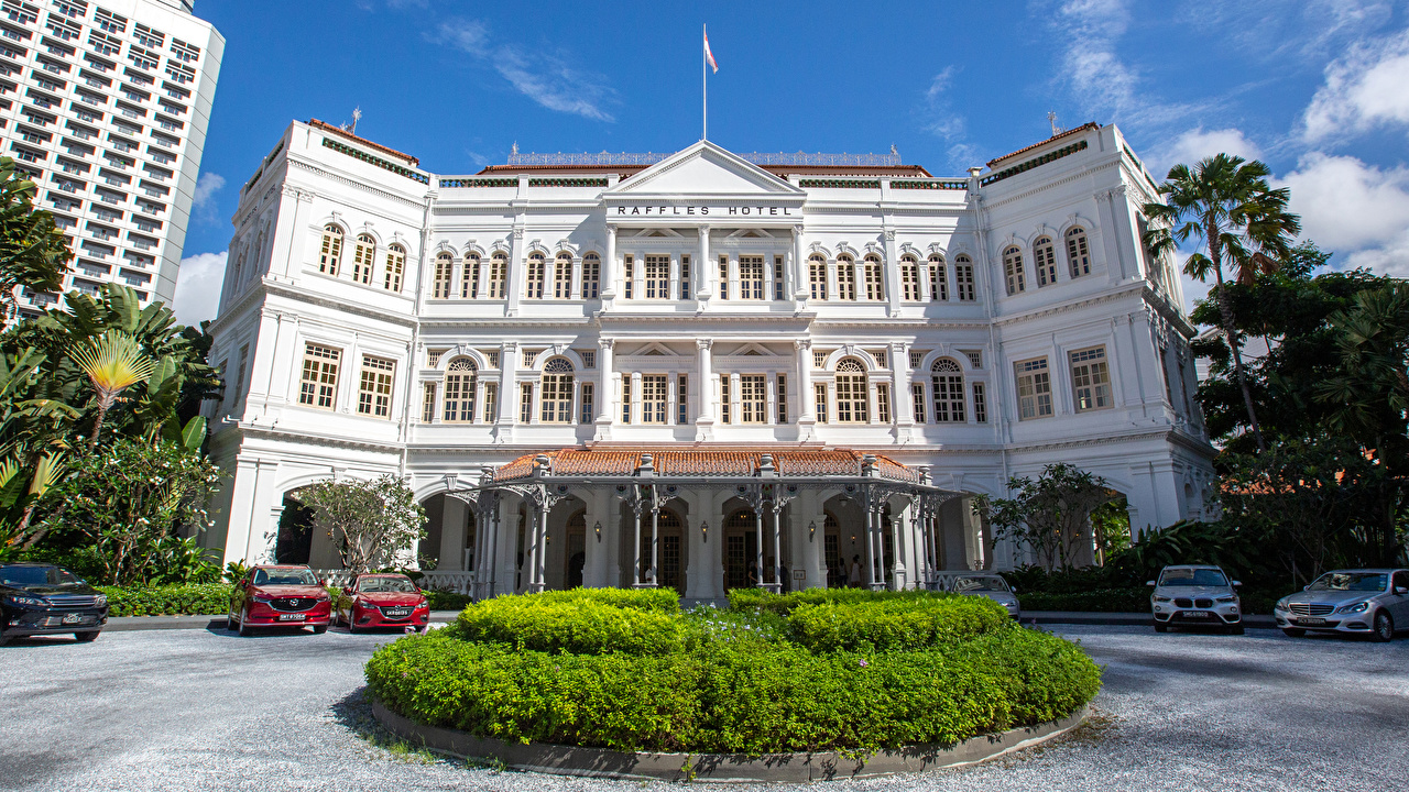 Picture Singapore Raffles Hotel Lawn Cities Building Design Houses