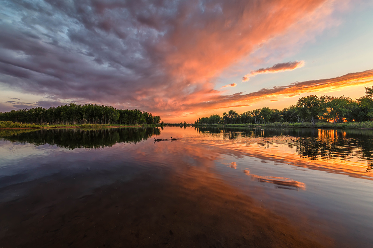 Pictures USA Chatfield State Park Colorado Nature Sky Parks Sunrises and sunsets Rivers park sunrise and sunset river